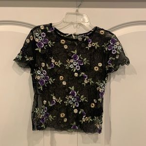Urban Outfitters Lilac Embroidered Sheer Shirt